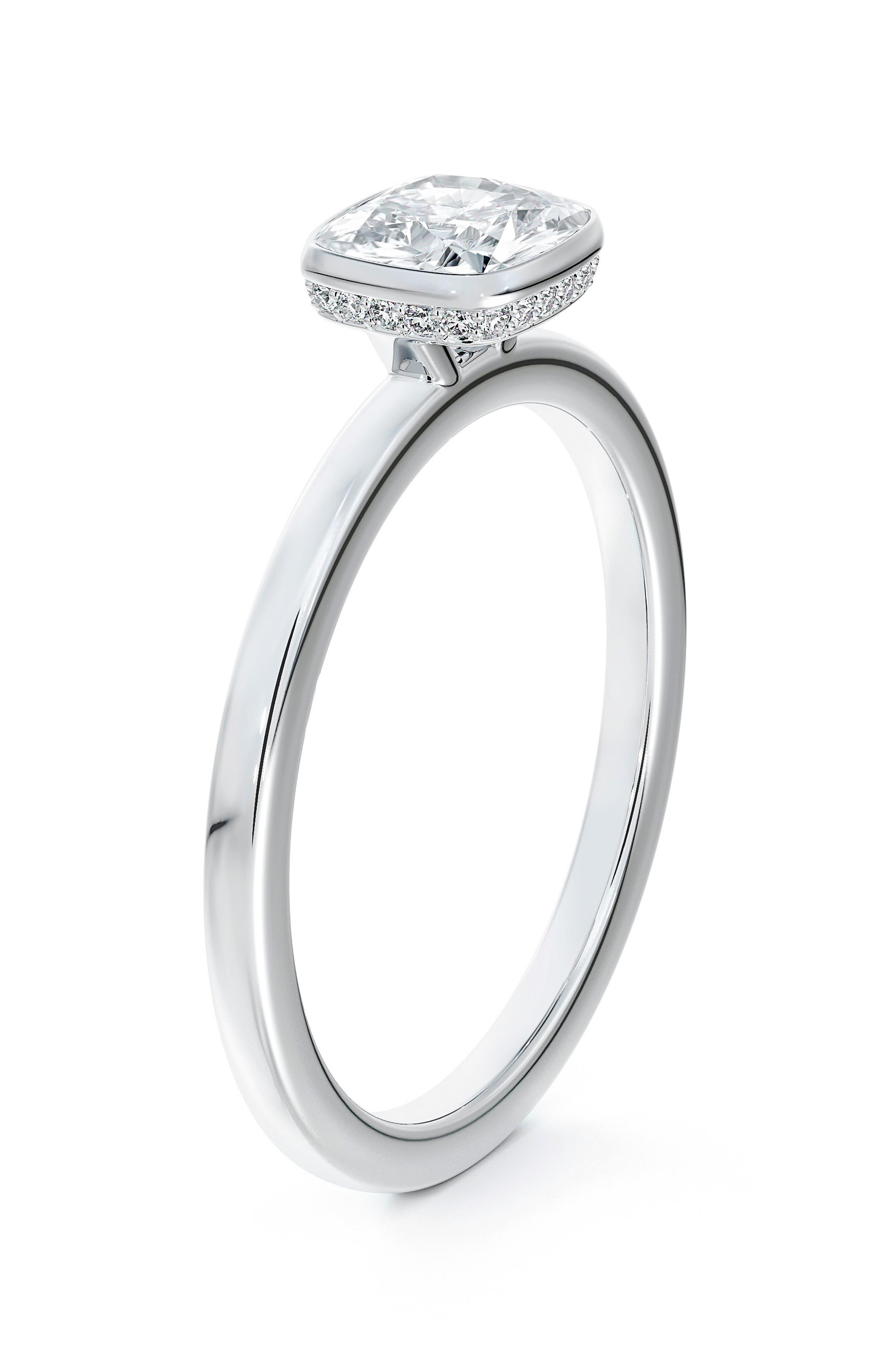 X Micaela Hidden Halo Cushion Bezel Set Diamond Engagement Ring