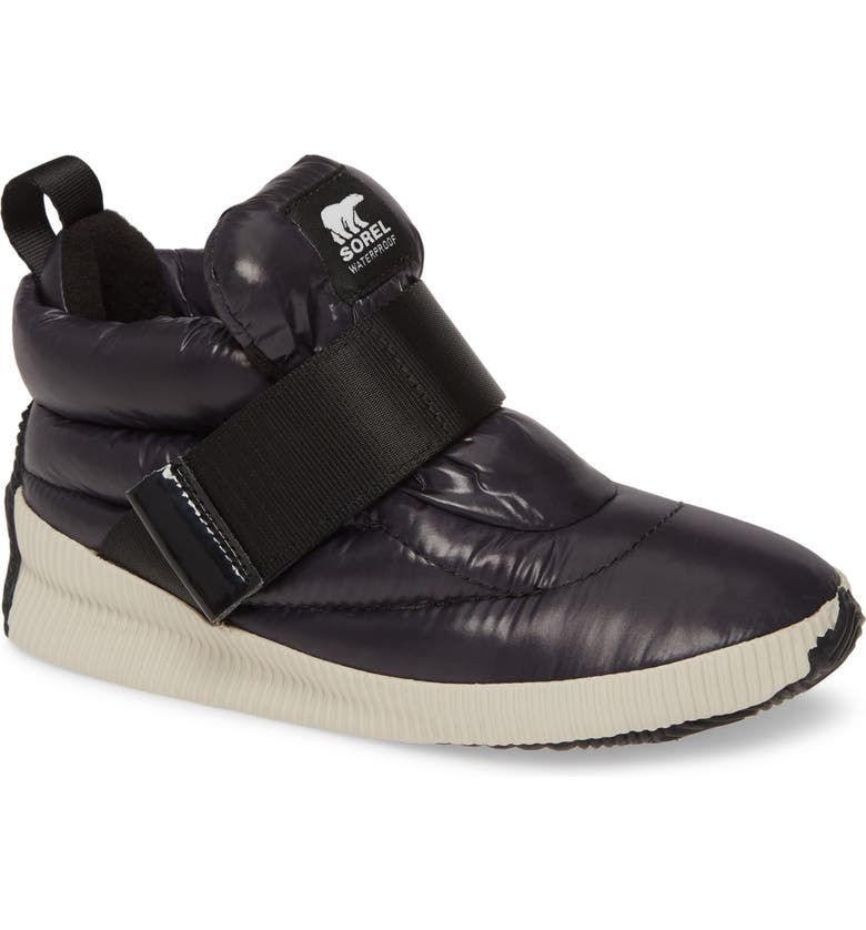 SOREL Out N About Puffy Insulated Waterproof Sneaker Boot, Main, color, BLACK FABRIC