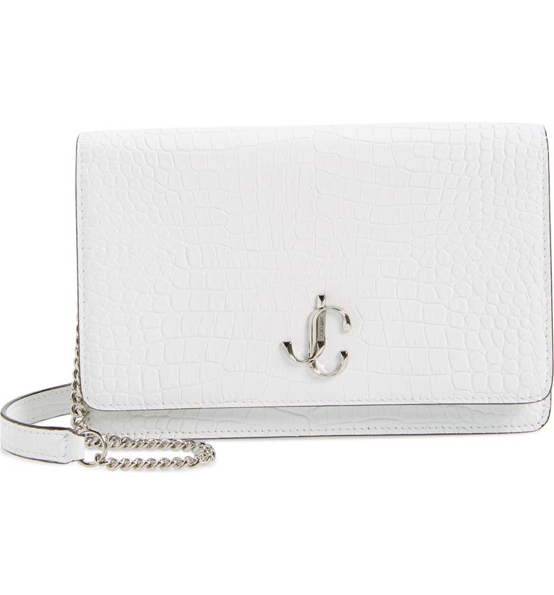 JIMMY CHOO Palace Croc Embossed Leather Clutch, Main, color, LATTE