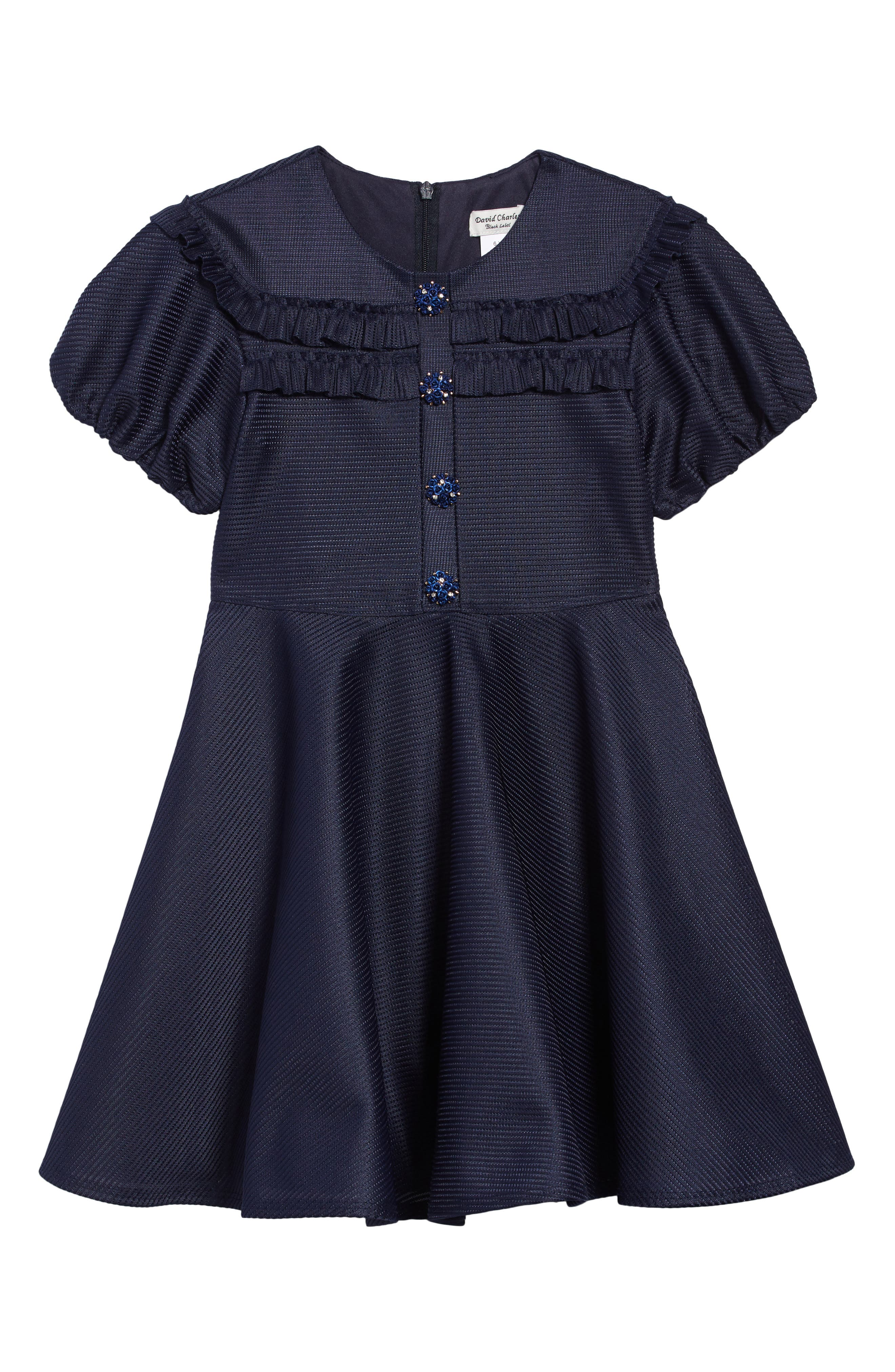 Victorian Kids Costumes & Shoes- Girls, Boys, Baby, Toddler Toddler Girls David Charles Tonal Stripe Fit  Flare Dress Size 3Y - Blue $111.49 AT vintagedancer.com