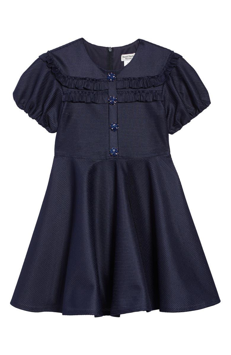 DAVID CHARLES Tonal Stripe Fit & Flare Dress, Main, color, 400