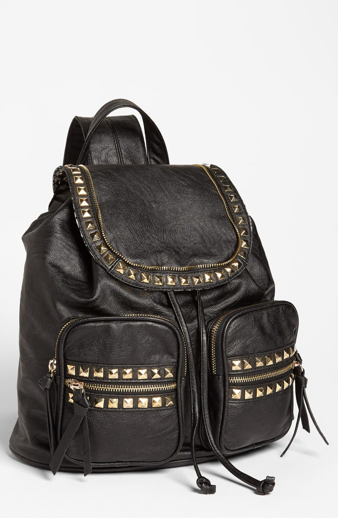 'Study Buddy' Studded Faux Leather Backpack, Main, color, 001