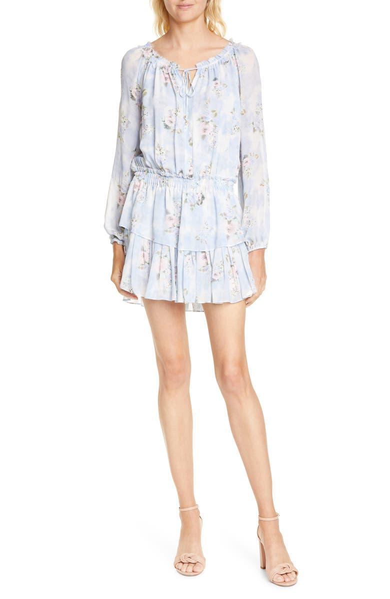 LOVESHACKFANCY Popover Floral Long Sleeve Silk Minidress, Main, color, WATER PETALS