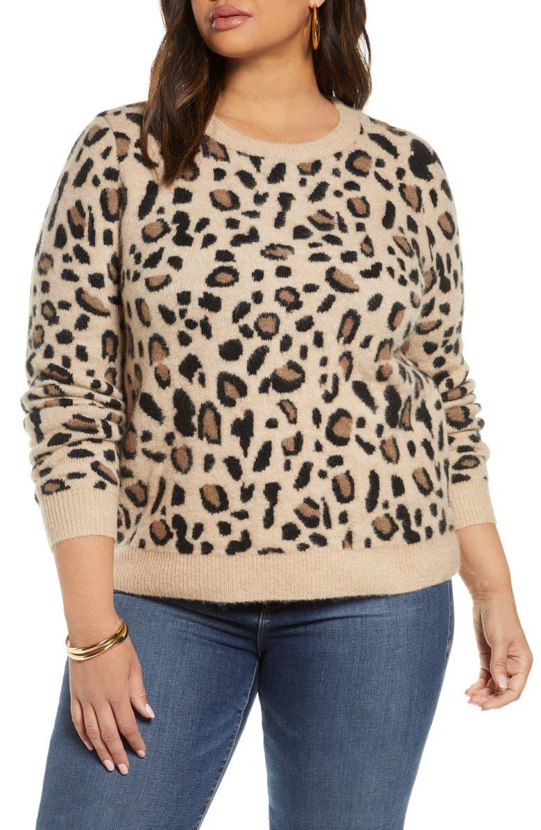 HALOGEN<SUP>®</SUP> Leopard Spot Crewneck Pullover, Main, color, TAUPE LEOPARD PATTERN
