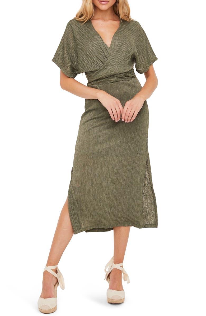 ALL IN FAVOR Phoebe V-Neck Midi Dress, Main, color, OLIVE