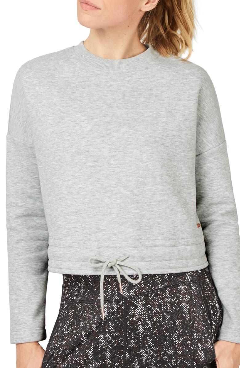 SWEATY BETTY Tie Hem Sweatshirt, Main, color, LIGHT GREY MARL