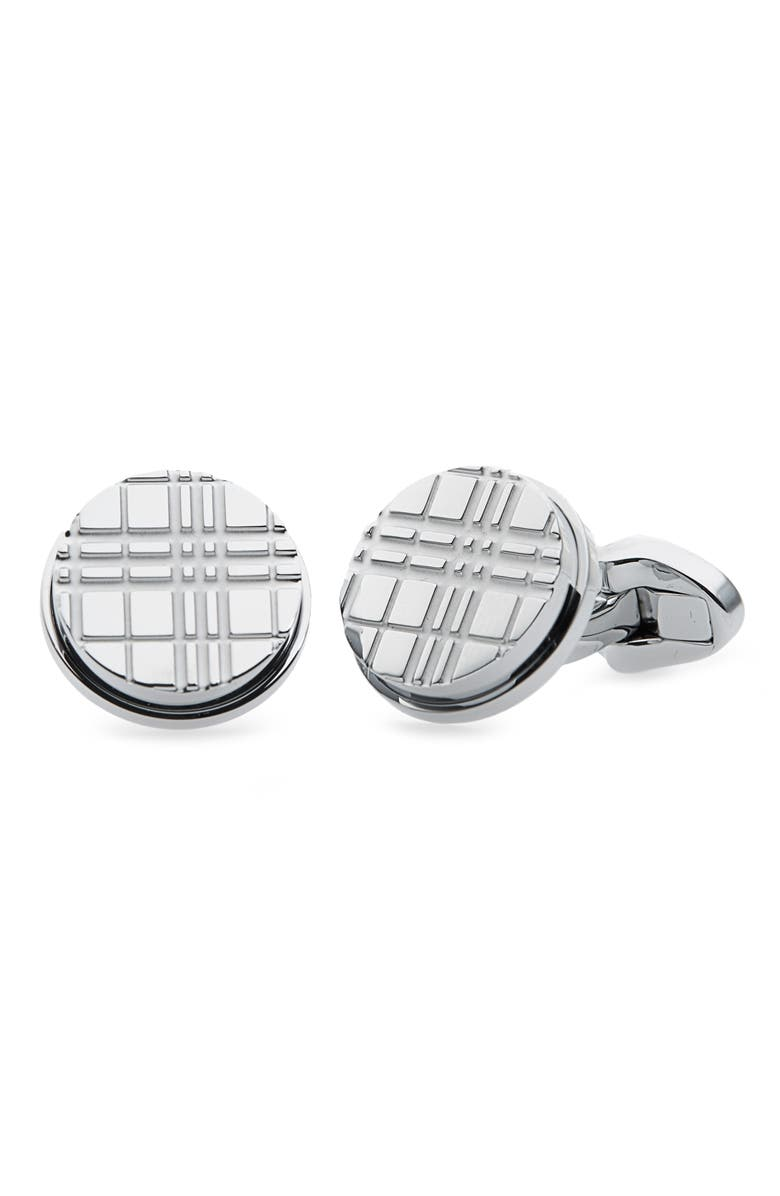 BURBERRY Round Check Cuff Links, Main, color, 020
