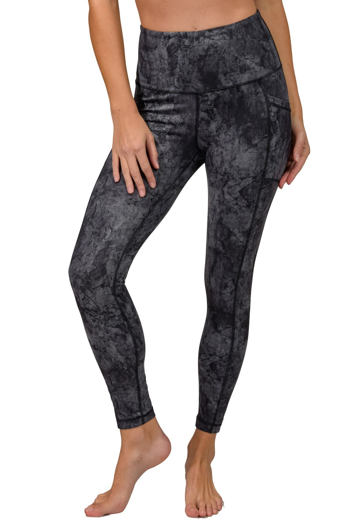 Image of 90 Degree By Reflex Marble Print High Rise Multi Pocket Ankle Leggings