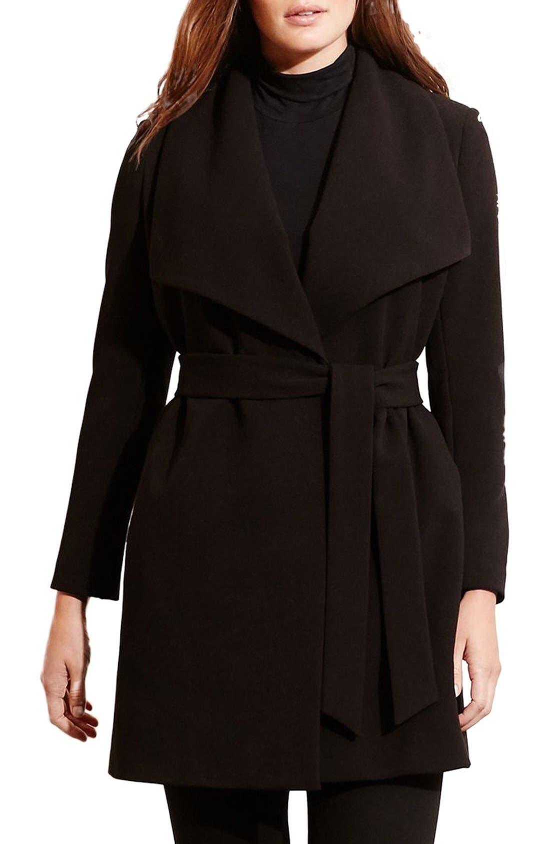,                             Belted Drape Front Coat,                             Main thumbnail 7, color,                             001