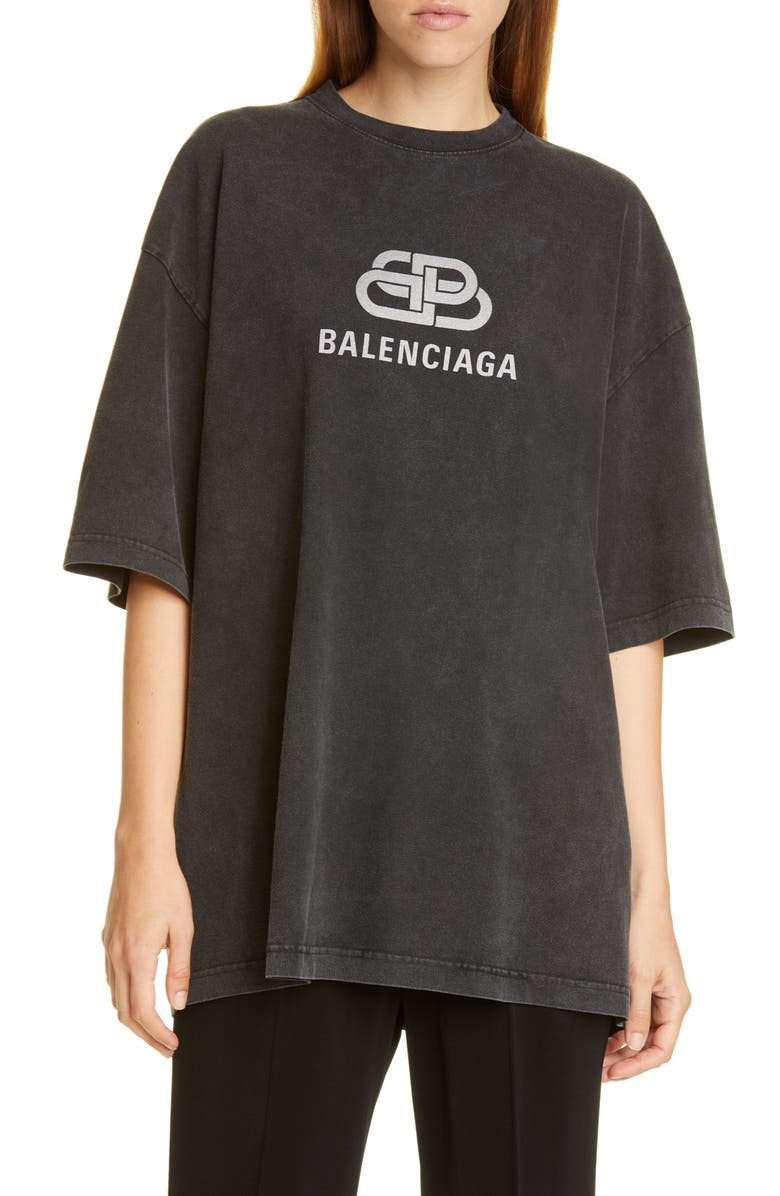 BALENCIAGA BB Logo Oversized Tee, Main, color, ANTHRACITE
