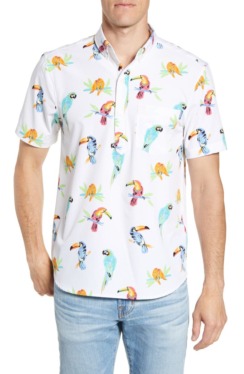 CHUBBIES The Dude Where's Macaw Short Sleeve Button-Down Popover Shirt, Main, color, 101