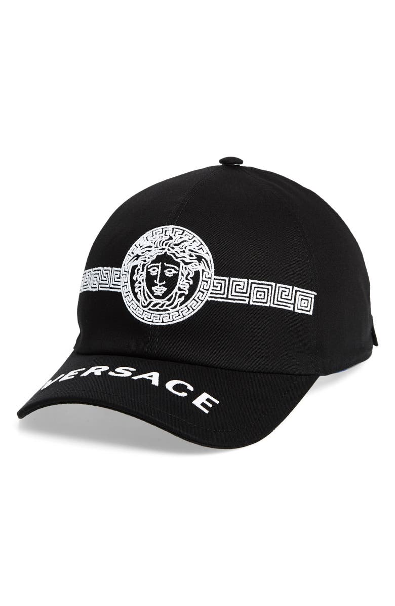 VERSACE FIRST LINE Versace Embroidered Medusa Baseball Cap, Main, color, BLACK/ WHITE