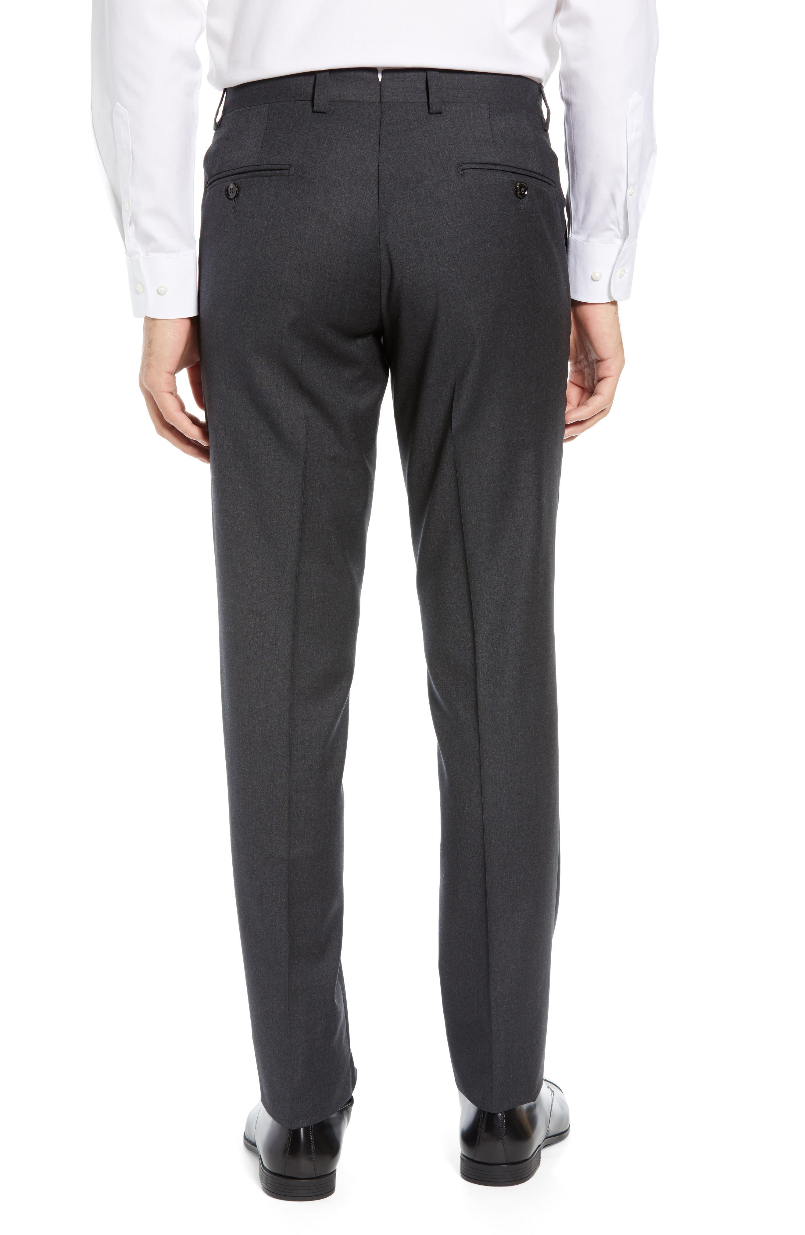 ,                             Jerome Flat Front Solid Wool Trousers,                             Alternate thumbnail 2, color,                             CHARCOAL