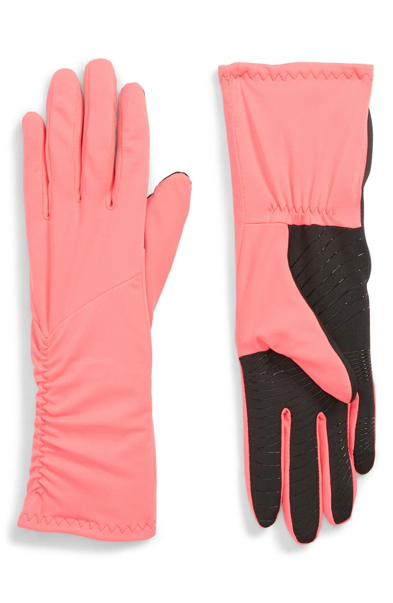 U|R Side Ruched Stretch Touchscreen Compatible Gloves, Main, color, POPSTAR PINK