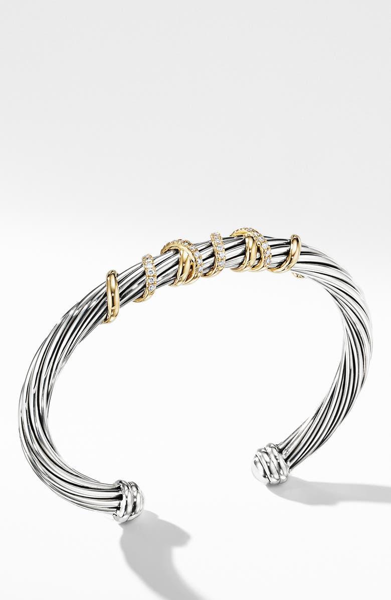 DAVID YURMAN Helena Center Station Bracelet with 18k Gold & Diamonds, Main, color, GOLD/ SILVER/ DIAMOND