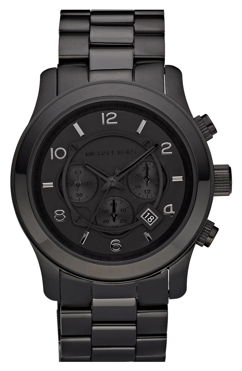 MICHAEL KORS 'Large Runway' Blacked Out Chronograph Watch, 45mm, Main, color, 001