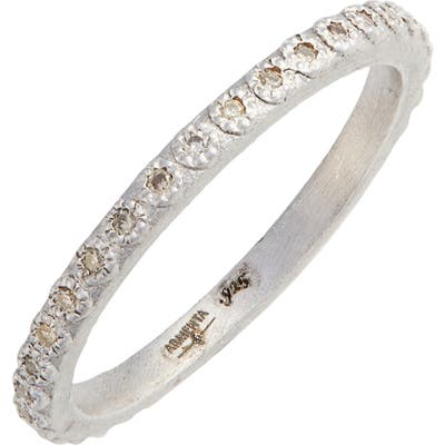 New World Silver Champagne Diamond Stacking Ring