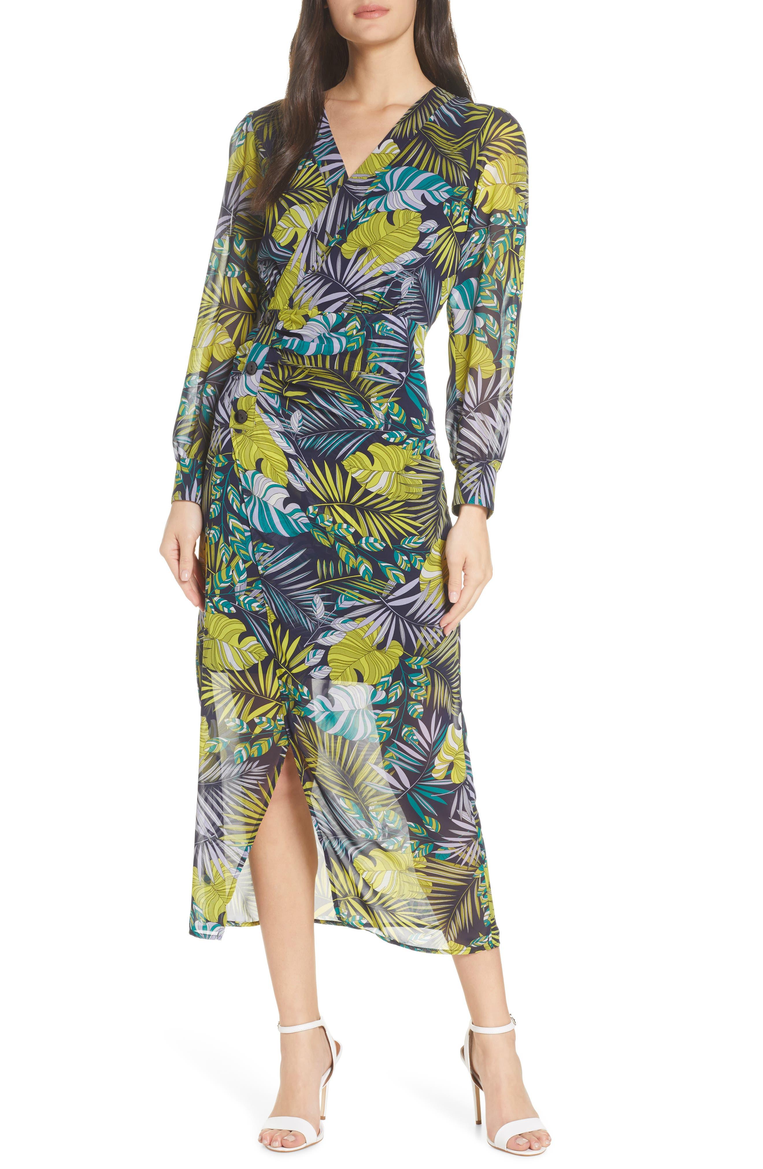 Sam Edelman Tropics Long Sleeve Chiffon Midi Dress, Green