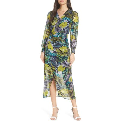 Sam Edelman Tropics Long Sleeve Chiffon Midi Dress, Green