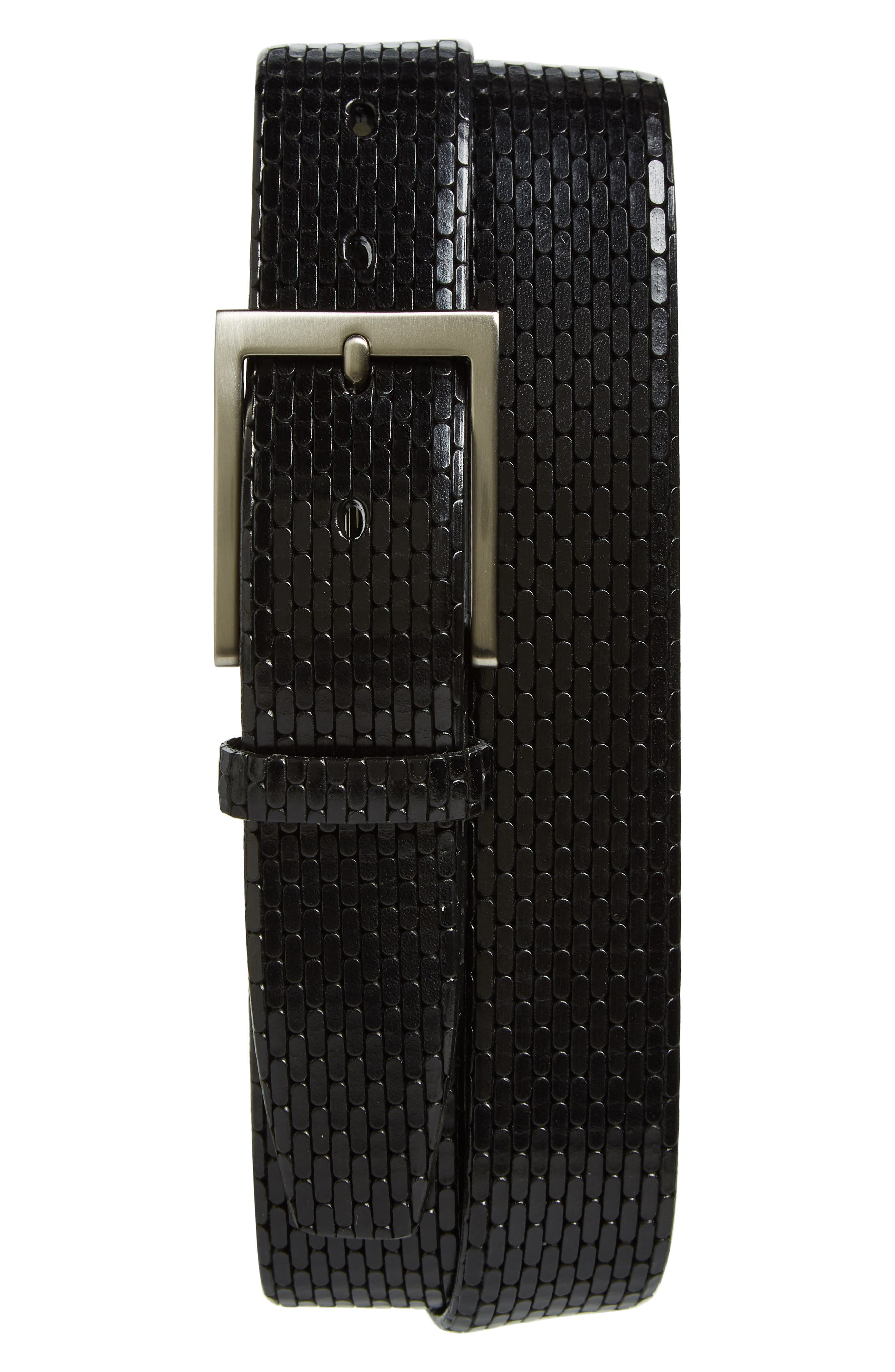 Laser-cut geometric designs touch up a stylish belt fashioned from lustrous Italian calfskin. Style Name: Torino Geometric Leather Belt. Style Number: 5940580. Available in stores.
