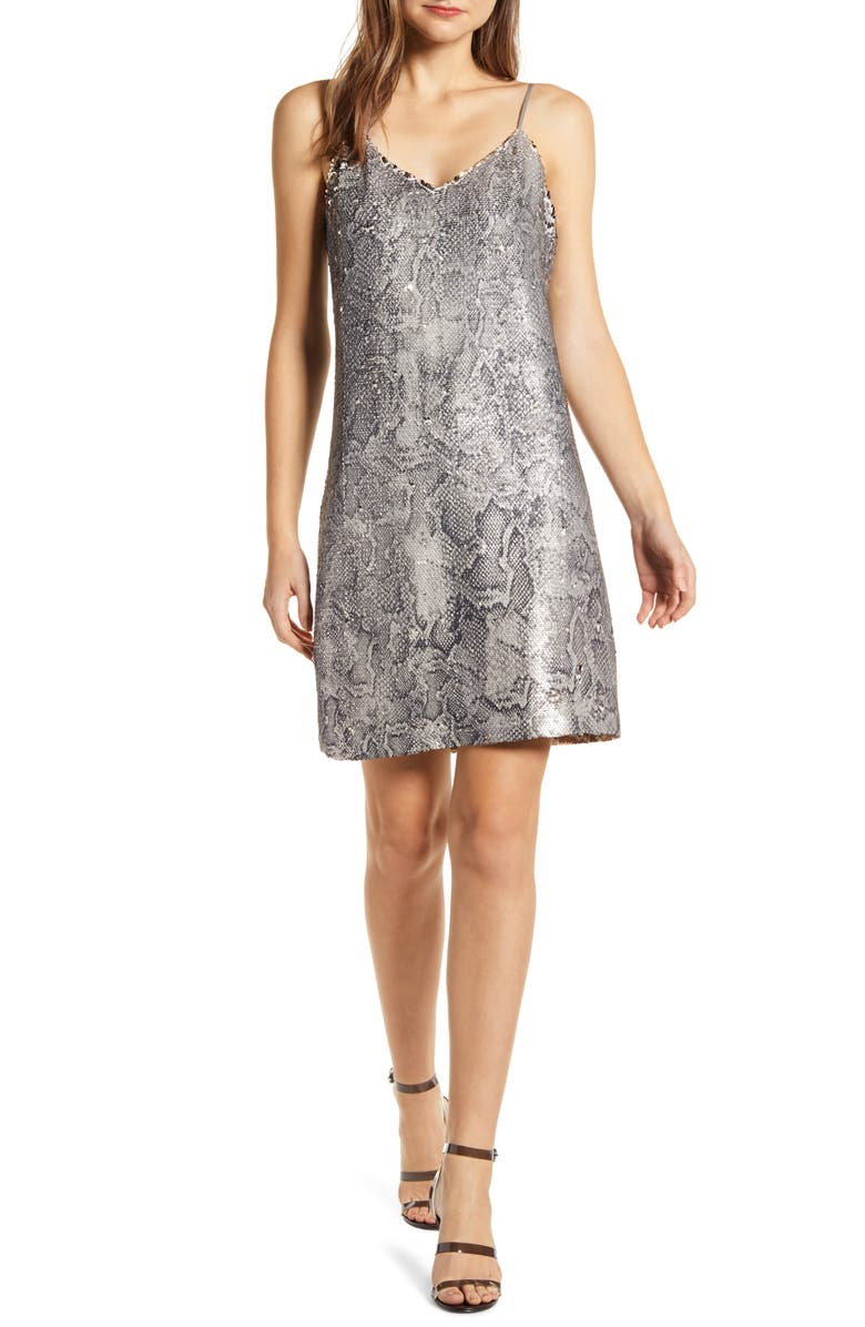 CUPCAKES AND CASHMERE Candice Sequin Slipdress, Main, color, LATTE