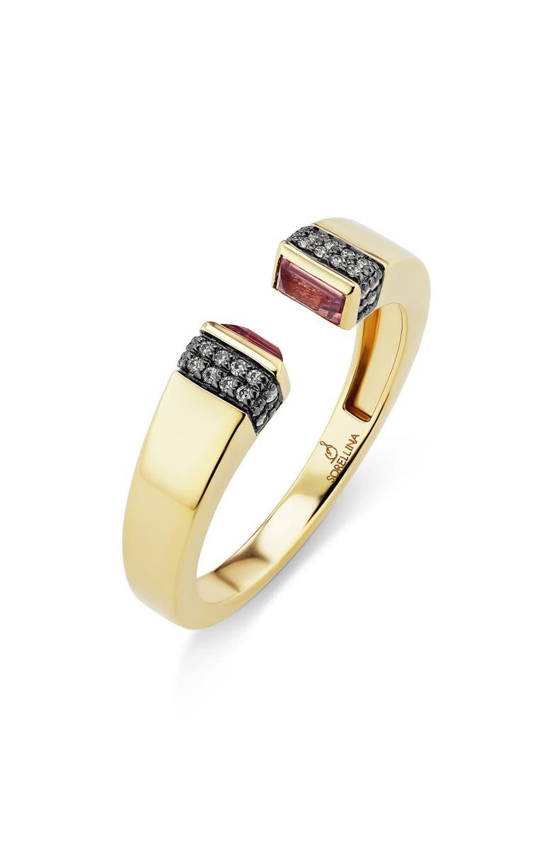 SORELLINA Pietra Semiprecious Stone & Diamond Pavé Open Ring, Main, color, YELLOW GOLD/ PINK SAPPHIRE