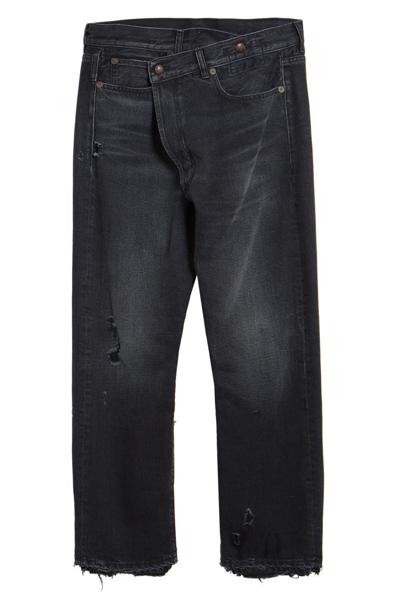 R13 Crossover Ripped Ankle Jeans, Main, color, JAKE BLACK