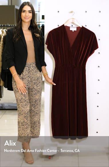 Texture Stripe Stretch Velvet Midi Dress, sales video thumbnail