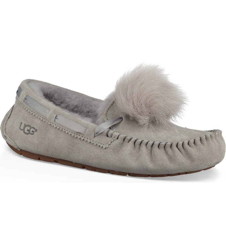 f31a9317ff734 Dakota Water Resistant Genuine Shearling Pompom Slipper, Main, color, SEAL