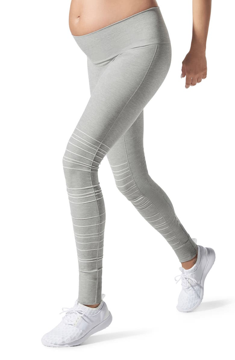 BLANQI SportSupport Hipster Cuff Support Maternity/Postpartum Leggings, Main, color, DOVE GREY