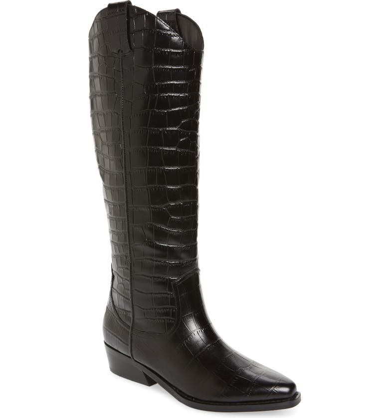 MARC FISHER LTD Haze Boot, Main, color, BLACK CROCO EMBOSSED LEATHER