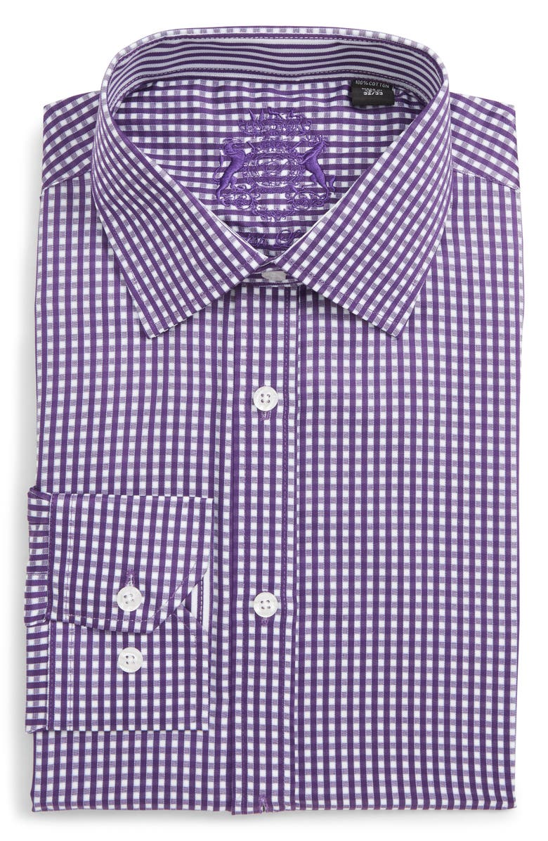 ENGLISH LAUNDRY Trim Fit Check Dress Shirt, Main, color, LILAC