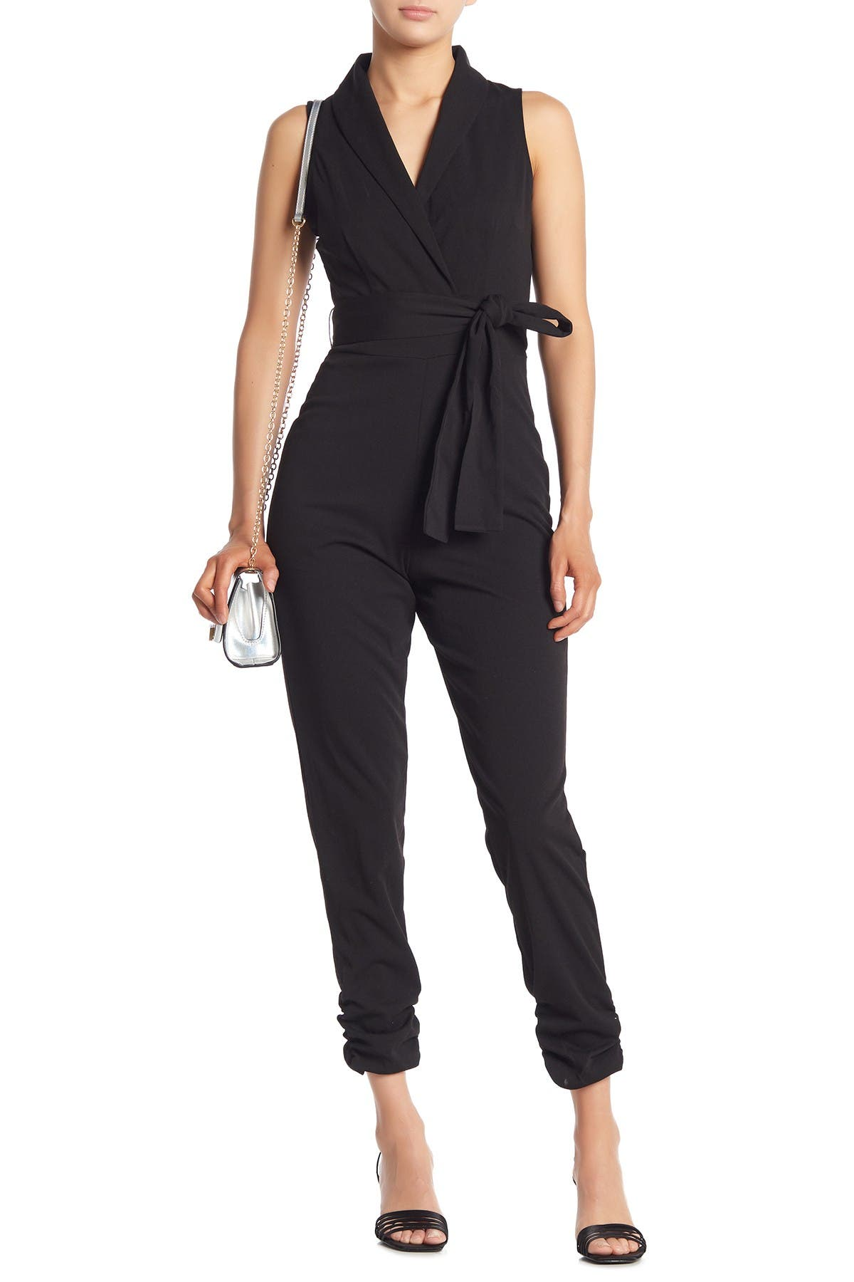 Image of BAILEY BLUE Belted Sleeveless Jumpsuit