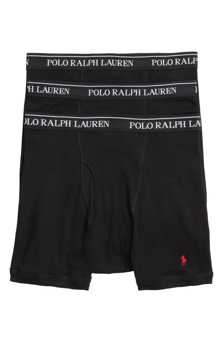 POLO RALPH LAUREN 3-Pack Cotton Boxer Briefs, Main, color, POLO BLACK