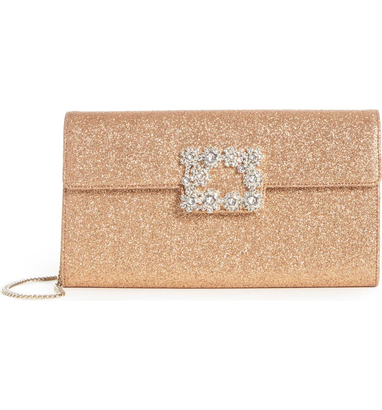 ROGER VIVIER Crystal Buckle Glitter Shoulder Bag, Main, color, ALBICOCCA CHIARO