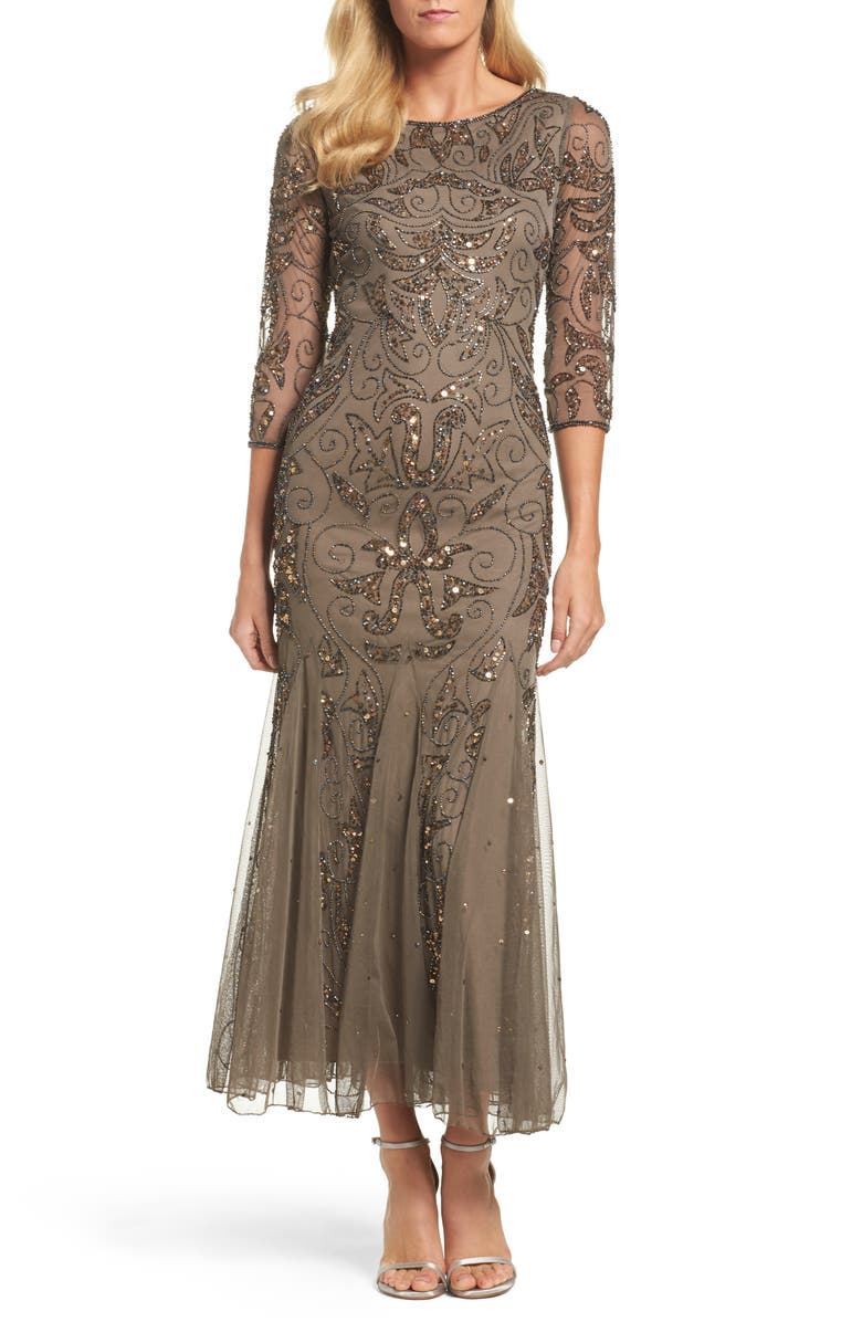 PISARRO NIGHTS Embellished Mesh Gown, Main, color, MOCHA