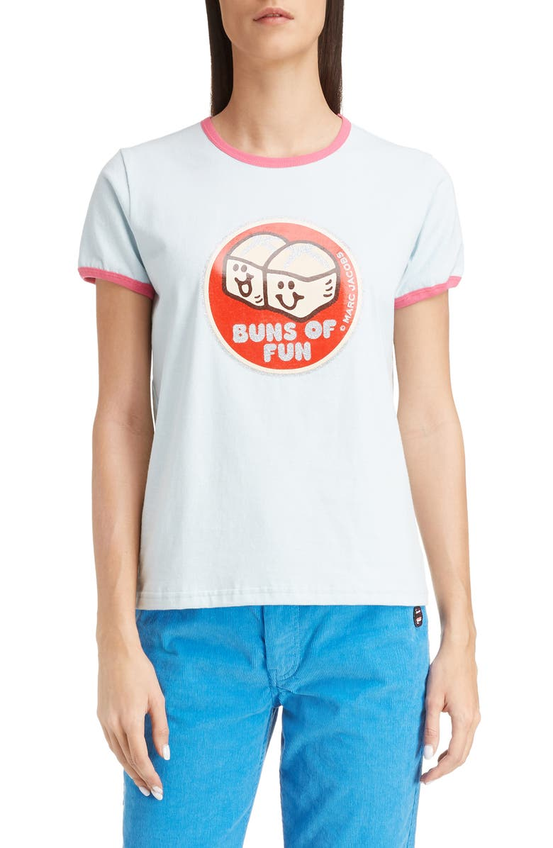 MARC JACOBS Buns of Fun Ringer Tee, Main, color, LIGHT BLUE