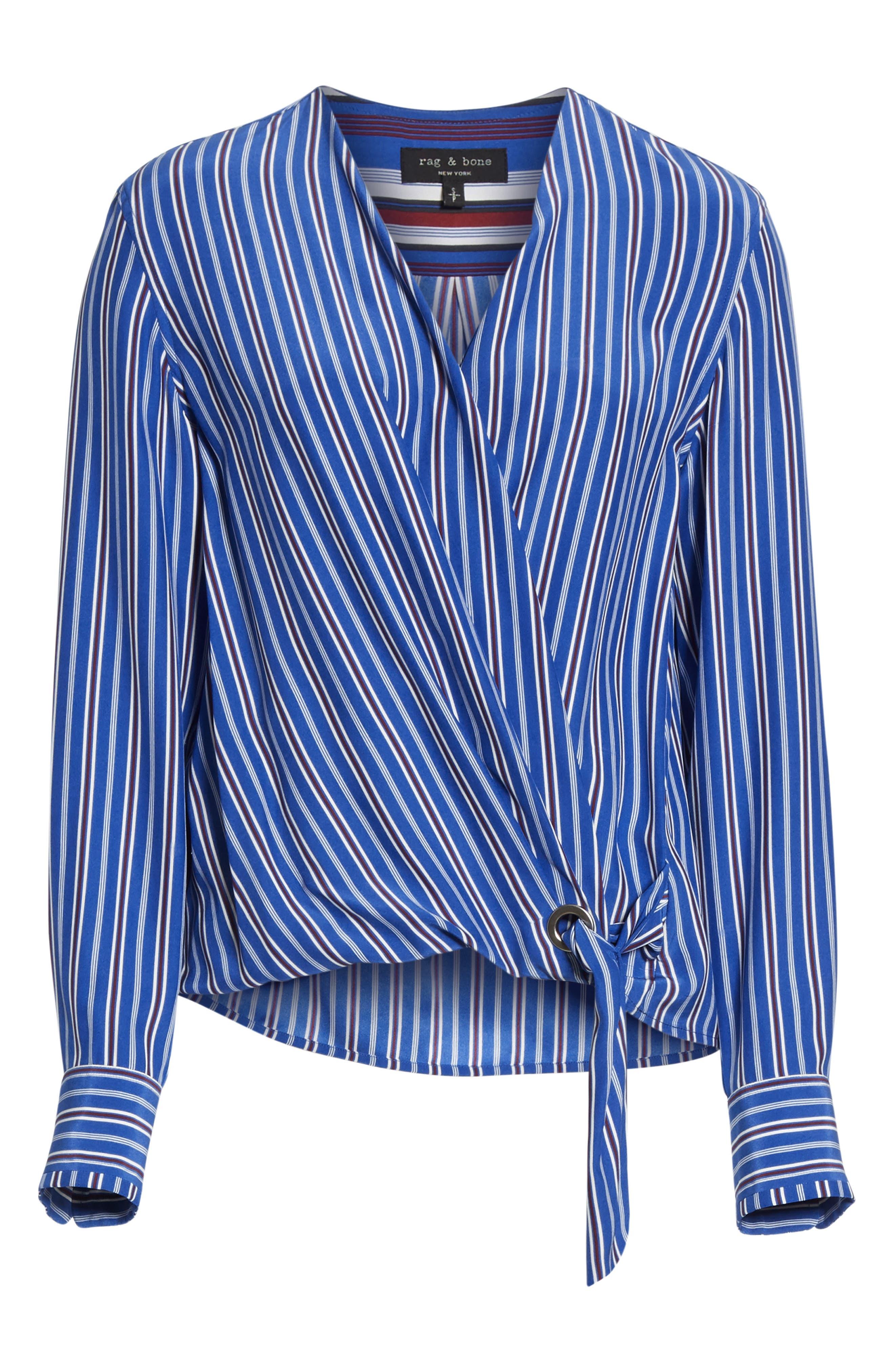 ,                             Felix Stripe Silk Wrap Top,                             Alternate thumbnail 6, color,                             BLUE MULTI