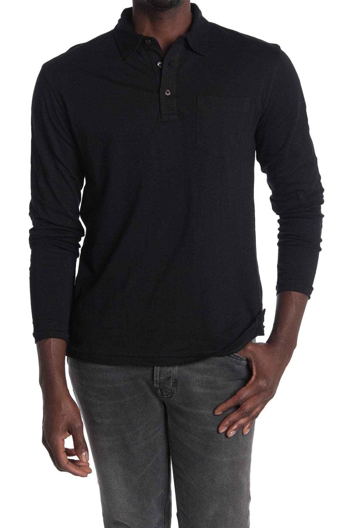 Image of Slate & Stone Solid Long Sleeve Knit Polo