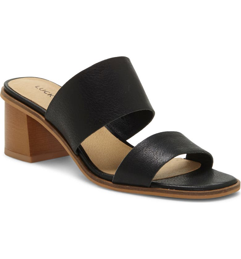 LUCKY BRAND Lalinna Slide Sandal, Main, color, BLACK LEATHER
