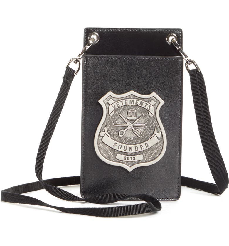 VETEMENTS Police Leather Crossbody Pouch, Main, color, 001