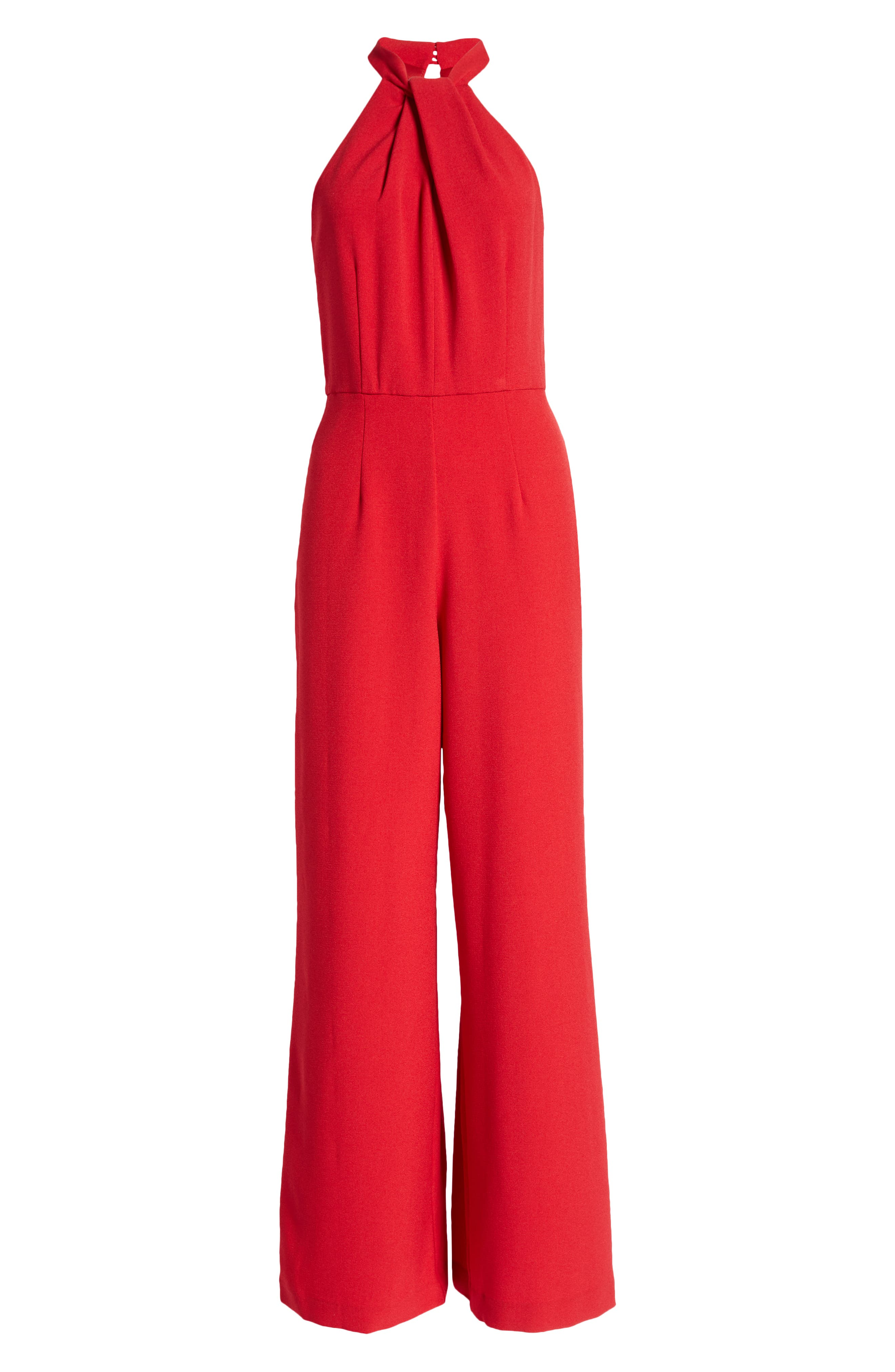 60s – 70s Pants, Jeans, Hippie, Bell Bottoms, Jumpsuits Womens Julia Jordan Halter Neck Jumpsuit Size 14 - Red $139.00 AT vintagedancer.com