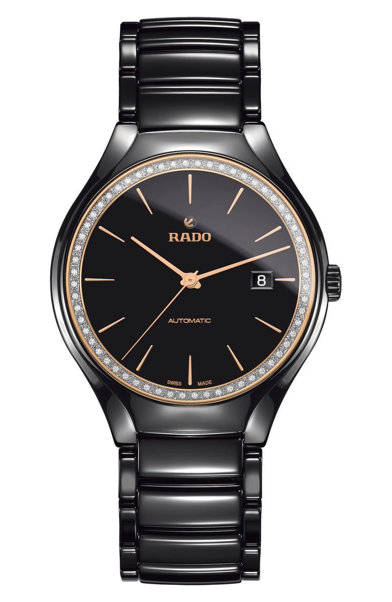 RADO True Diamond Ceramic Bracelet Watch, 40mm, Main, color, 001