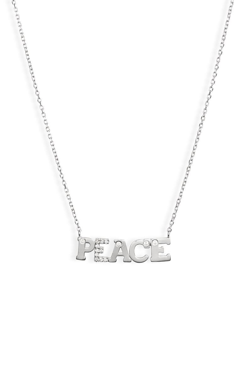 ANZIE Love Letter Peace Pendant Necklace, Main, color, SILVER/ SAPPHIRE
