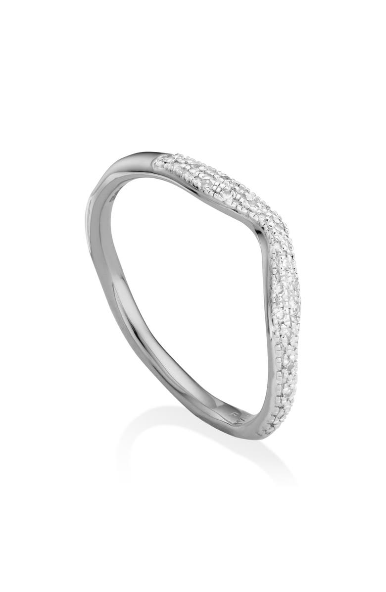 MONICA VINADER Riva Diamond Stacking Ring, Main, color, SILVER