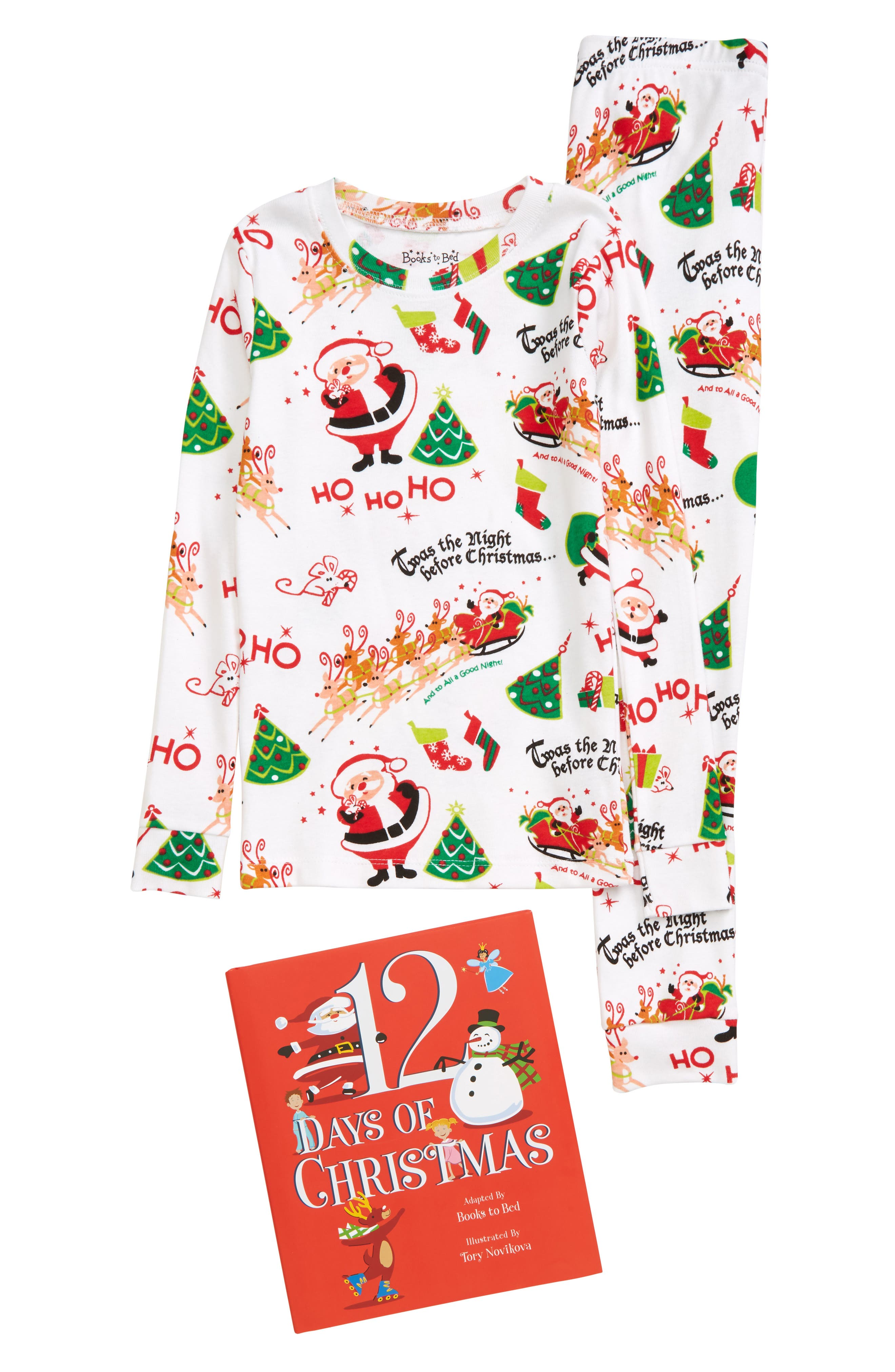 Toddler Boy's Hatley Books To Bed Kids' '12 Days Of Christmas' Organic Cotton Fitted Two-Piece Pajamas & Storybook Set, Size 2T - White