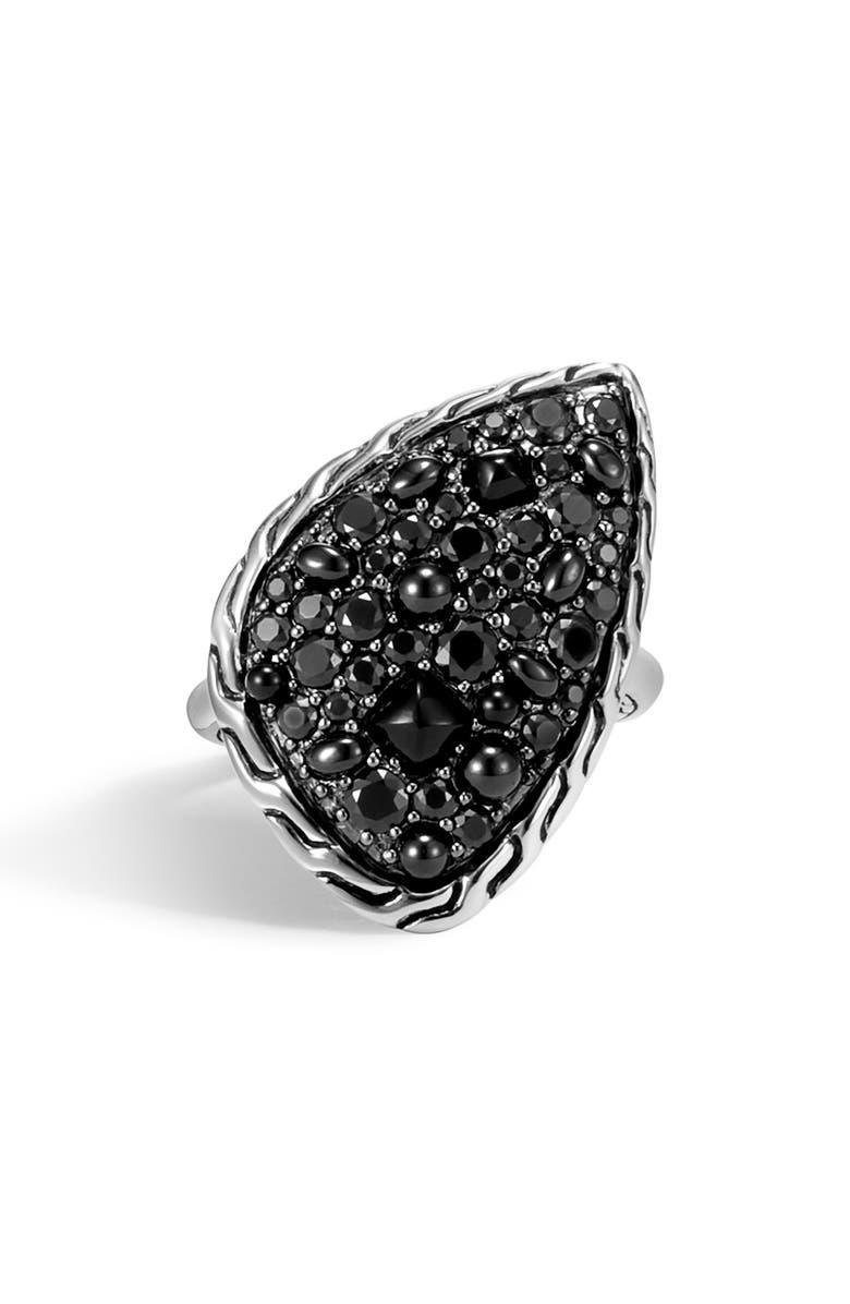 JOHN HARDY Classic Chain Black Sapphire Ring, Main, color, SILVER/ BLACK SAPPHIRE