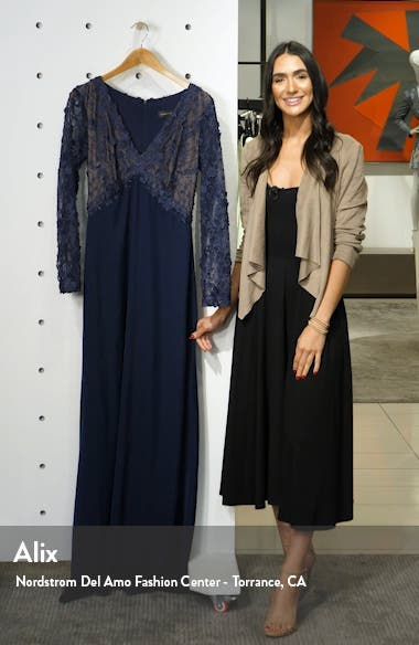 Embellished Mesh Bodice Long Sleeve Trumpet Gown, sales video thumbnail