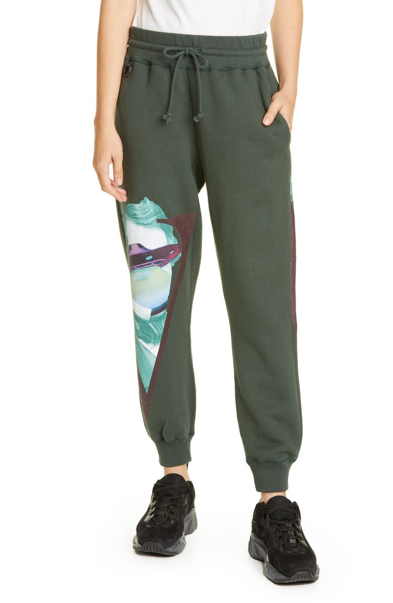 UNDERCOVER x Valentino V-Face UFO Print Sweatpants, Main, color, KHAKI GREEN
