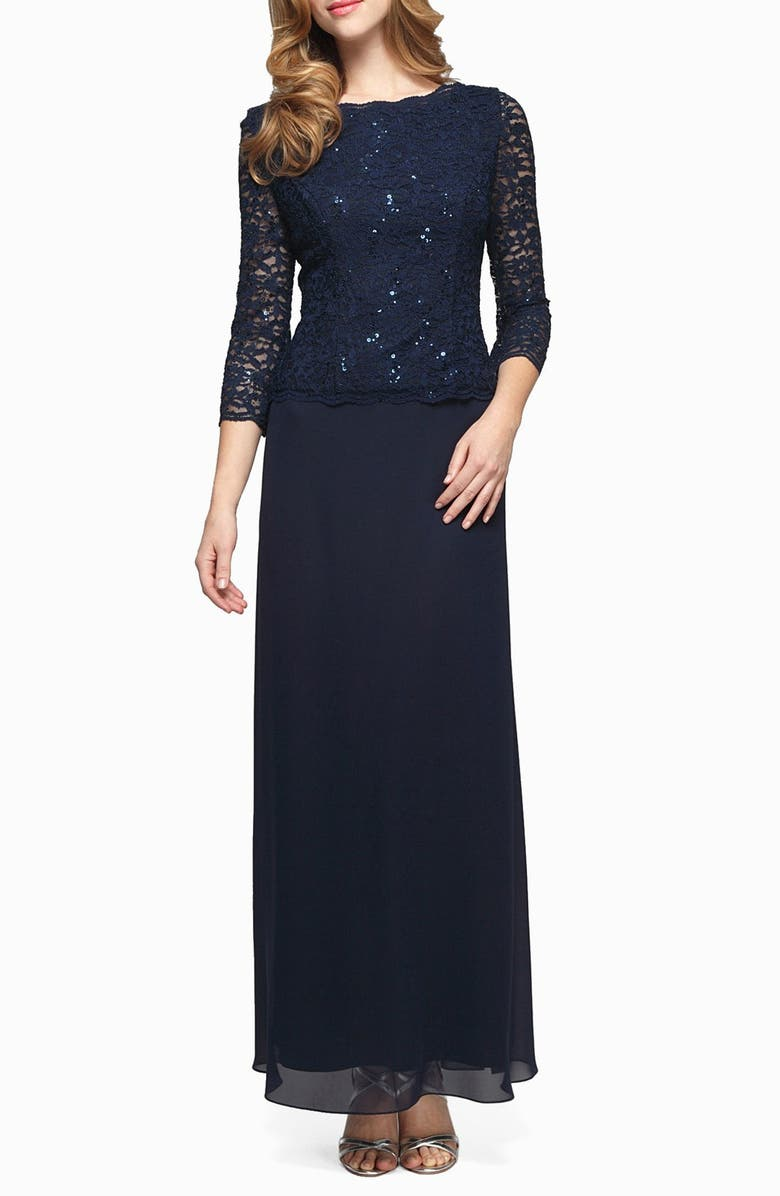 ALEX EVENINGS Sequin Lace & Chiffon Gown, Main, color, NAVY